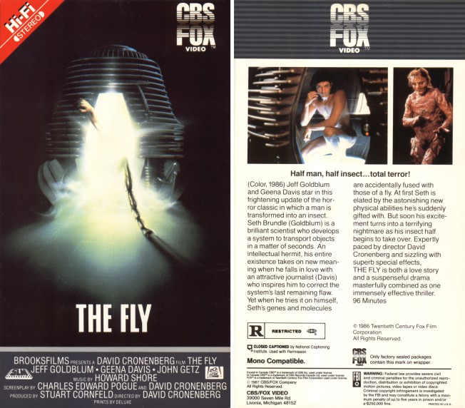 fly 1986 vhs front & back