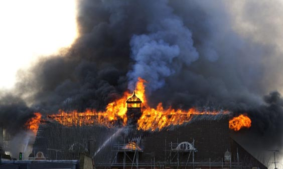 Battersea Arts Centre on fire, London, Britain  - 13 Mar 2015